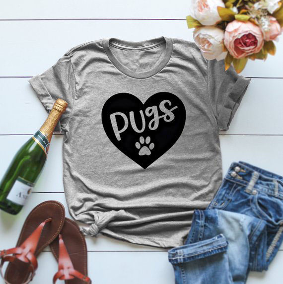 <font><b>pugs</b></font> dog T-Shirt <font><b>Pug</b></font> mama <font><b>tshirt</b></font> <font><b>pug</b></font> Dog paw heart Tee Slogan Aesthetic Casual Cotton Tops Gray Clothing Grunge Camisetas Outfit image