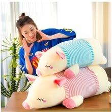 купить Cartoon Cute Soft Animals Pig Doll Toy Stuffed Striped Pink Blue Pig Pillow Toy Children Birthday Gift Jouet дешево
