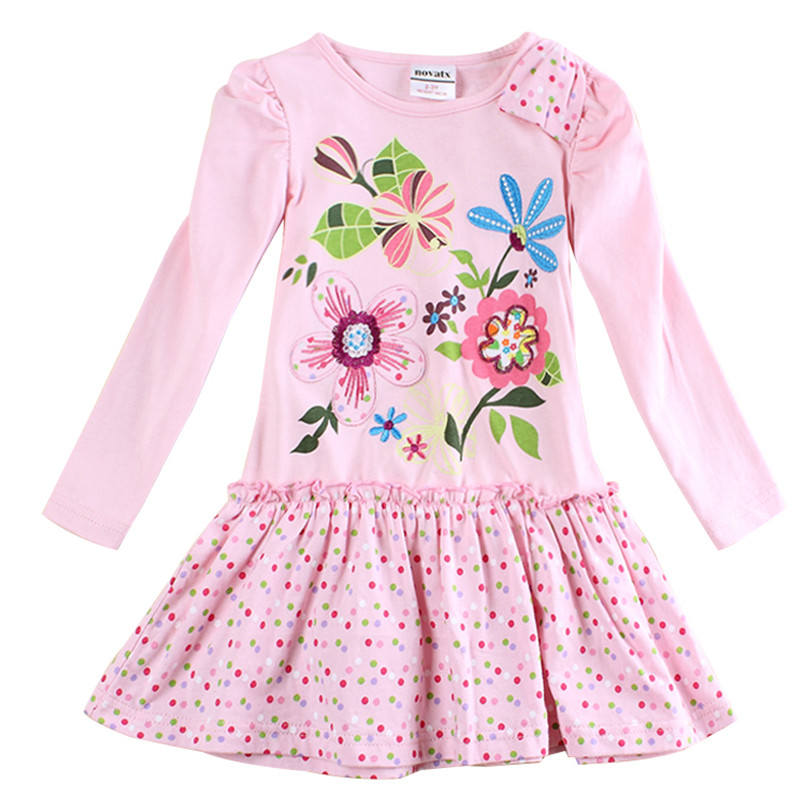 baby clothes girl cotton embroidery knee length dress kids clothes girl dress floral long sleeves casual dresses for girls H5795 floral print knee length dress with sleeves