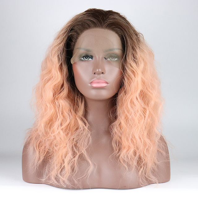 ac7773309bf US $51.99 |Fantasy Beauty Lace Front Wigs Brown Ombre Pink Wig 14 Short  Fluffy Natural Wavy Synthetic Full Wig 2 Tones with Brown Roots-in  Synthetic ...
