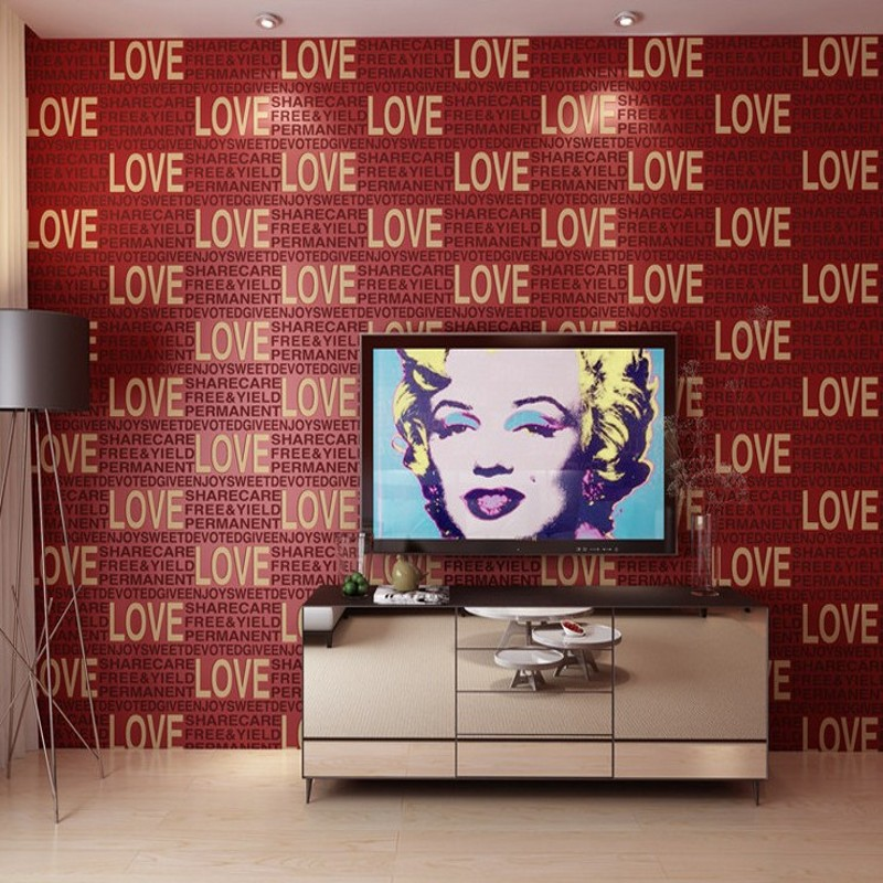 Modern 3D Stereo Foam LOVE Letter Wallpapers Bedroom Living Room Shopping Center Clothing shop Wallpaper
