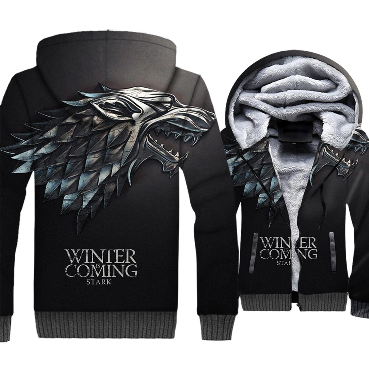 Game Of Thrones Jacket For Men 2018 Autumn Winter Streetwear Hoody House Stark 3D Hoody Wolf Harajuku Mens Sweatshirt Thick Coat