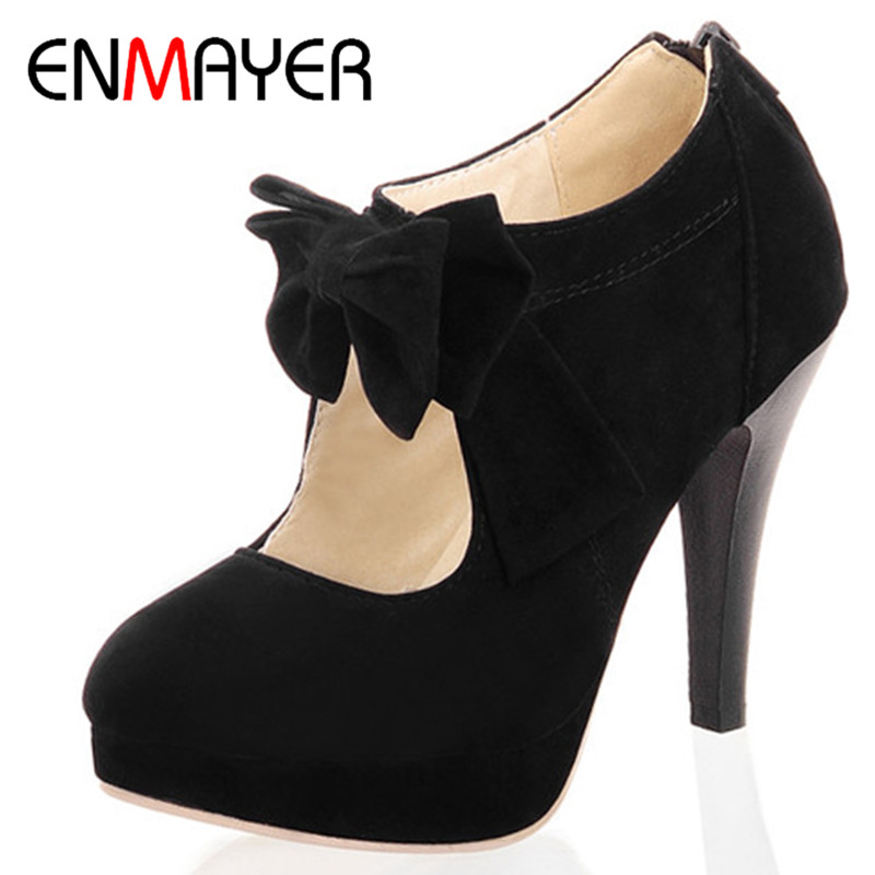 ENMAYER Sale New Round Toe Fashion Style Vintage Retro Style Woman Small Bow Platform Pumps Lady