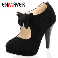 ENMAYER 2014 new vintage / retro style, woman small bowtie platform pumps, lady's sexy high heeled shoes цены онлайн