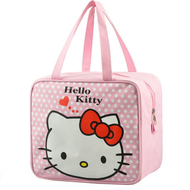 O Kitty Cute Lunch Box Bag Women S Kid Portable Handbag Travel Leisure Storage Lots Pouch Accessories