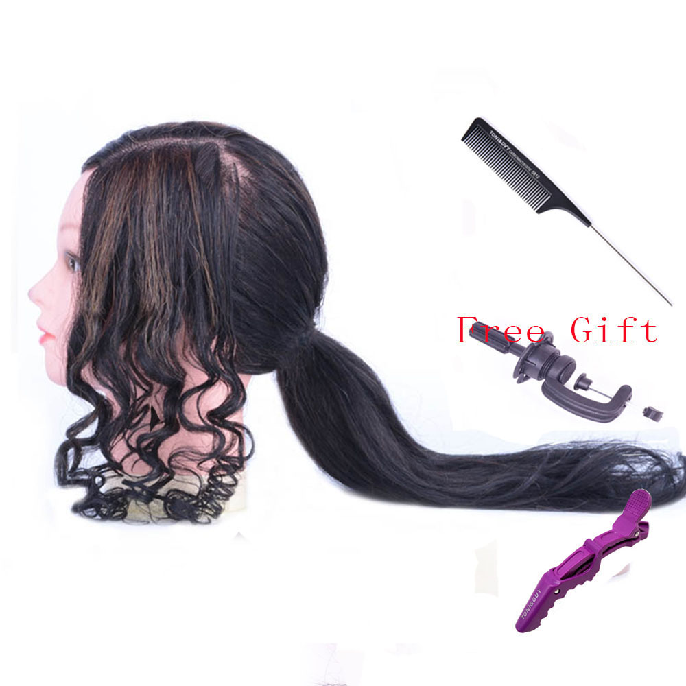 Salon 100% Real Human Hair Mannequin head Practice Training Head Cosmetology Mannequin Head Manikin Doll Head Free Clamp