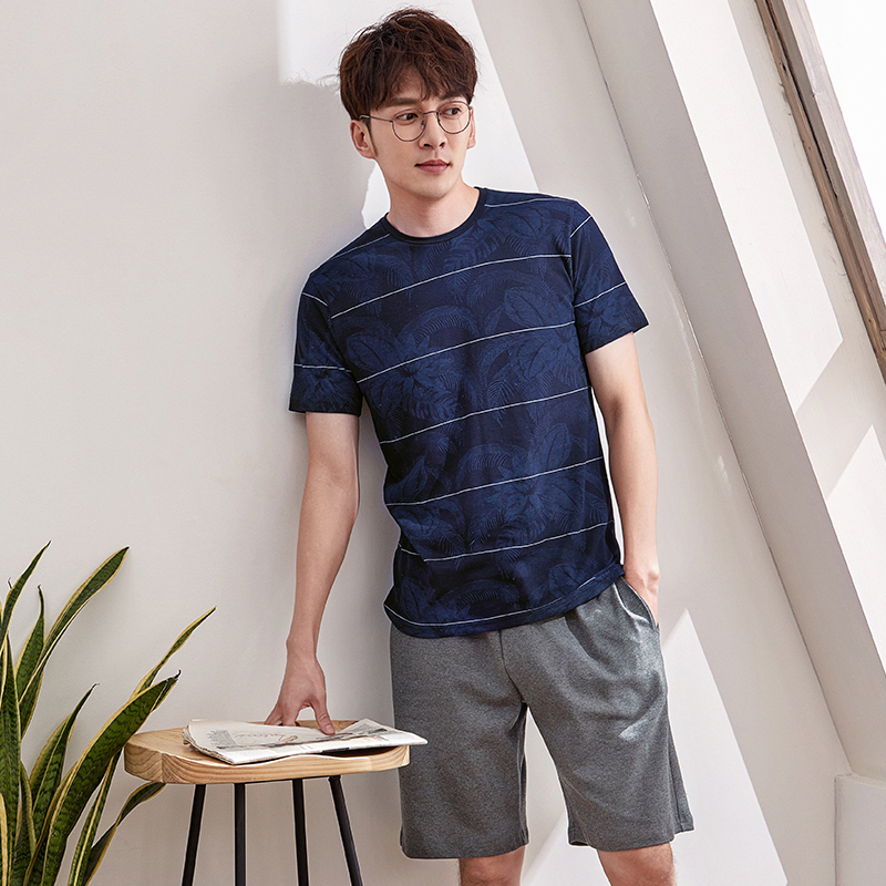 New Arrivals Plus Size M-3XL Summer Blue Print Tops & Gray Shorts For Men Pajama Sets Mens Two Piece Short Sleeve Sleepwear