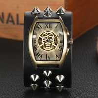 Punk Style Automatic Self Wind Mechanical Wristwatch Tevise Watches Men Elliptical Skull Dial Mechanical Watch Men Reloj Hombre
