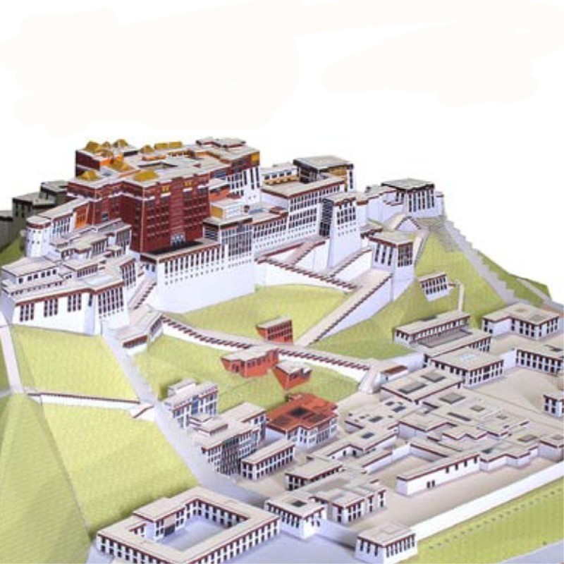 Potala Palace Tibet China Fun 3d Paper Diy Miniature Model Kits Puzzle Toys  Children Educational Boy 43f391209217