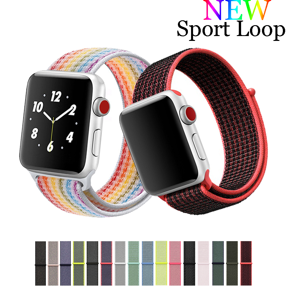 Nylon strap band for apple watch sport loop 42mm 38mm iwatch 3/2/1 flexible nylon weave bracelet watchband+hook-and-loop clasp