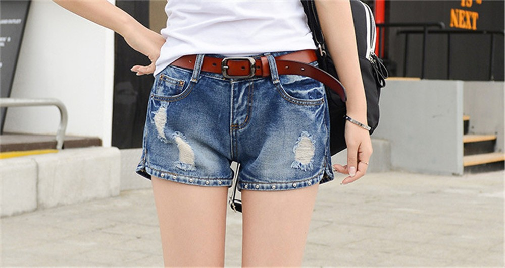 Mainland Retro Mid waist Women Short Jeans Woman Denim Female Wild Short-Pants Summer Loose Short Fashion Plus size Short jeans  (10)