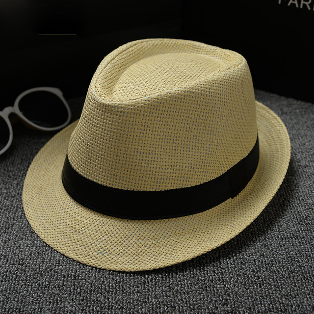 e5ff3e377d2 Paper Straw Unisex Summer Beach Women Hat Brim Ladies Gangster Cap Casual  Panama Jazz Straw Hat Men Cap Sun Visor Caps Male