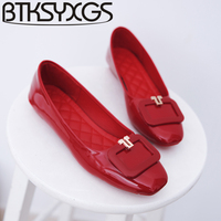BTKSYXGS Women Flats Casual Shoes Leather 2017 New Spring Summer Autumn Fashion Square Toe Metal Buckle