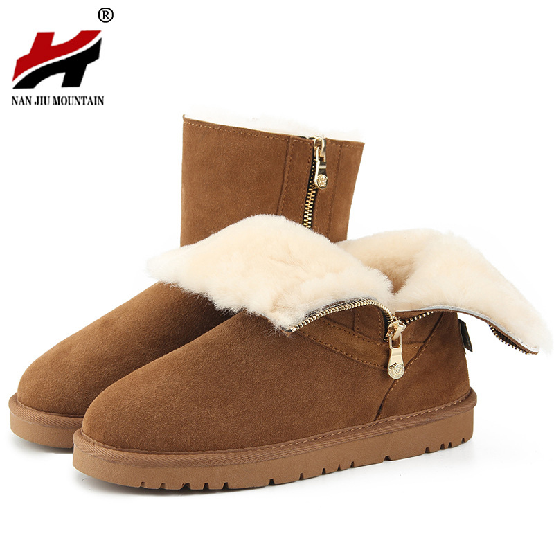 2017 New Arrival 100% Real Fur Classic  Waterproof  Leather Snow Boots Winter Shoes for Women moomin 2016 new arrival winter waterproof romper 100
