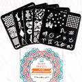 BORN PRETTY 5Pcs/set Nail Stamping Plate 6*6Cm Square Nail Art Template Image Plate BP-X06~X10