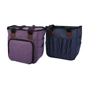 Image 4 - Saco de tricô fio portátil tote saco de armazenamento para lã crochê ganchos agulhas de tricô costura organizador suprimentos diy crochê saco