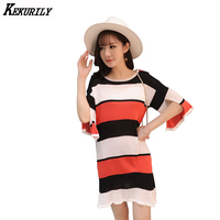 Autumn Outfit New Han Edition Show Thin Sleeve Split Dress Color Round Collar Knitting Skirt On
