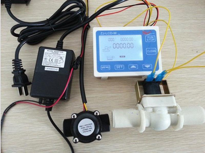 NUOVO 1 Controllo di Flusso Dellacqua Misuratore LCD + Sensore di Flusso elettrovalvola Power AdapterNUOVO 1 Controllo di Flusso Dellacqua Misuratore LCD + Sensore di Flusso elettrovalvola Power Adapter