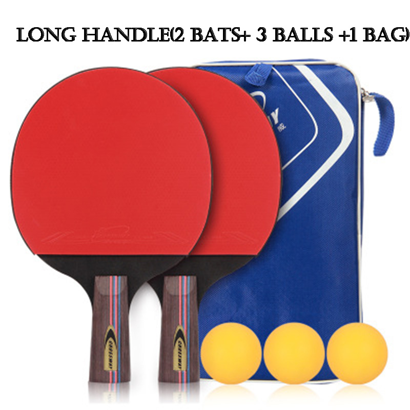 Table Tennis Racket Professional Horizontal Double Grip Ping Pong Case Bag Ball Set Bat Training Competition Sport Entertainment