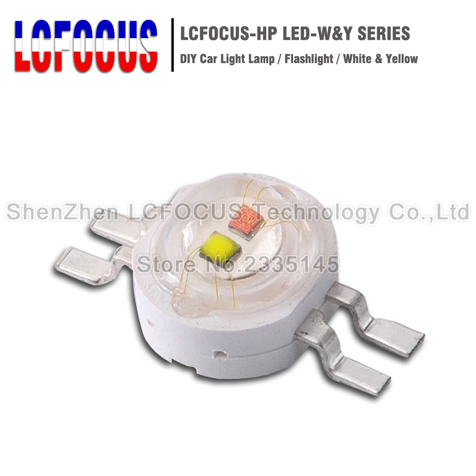 2*3W 2*1W White + Yellow High Power LED Double Chip COB SMD Diode For DIY 3 6 W Watt LED Special Lighting Car Light Lamp