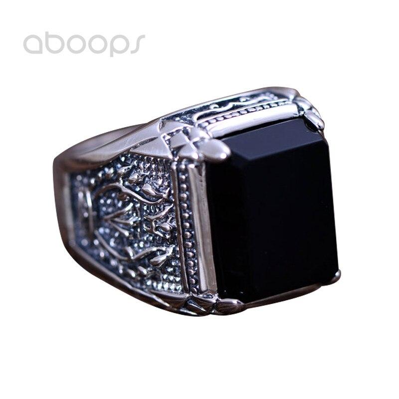 Vintage noir 925 argent Sterling Rectangle naturel Onyx pierre anneau gravé feu pour hommes garçons taille 7.5 8 9 10 11 11.5