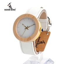 BOBO de AVES WJ28 de Pino De Madera de Acero Simple Cara Del Dial de Cuero Genuino banda de Reloj de Cuarzo Con Caja De Regalo De Madera Para Mujer relojes mujer