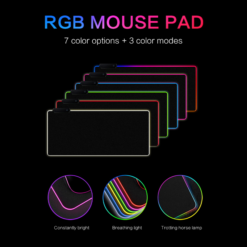 Image 2 - RGB LED Mouse Pad Large mouse pad USB Wired Lighting Gaming Gamer Mousepad Keyboard Non slip Colorful Luminous For PC Mice Mat-in Mouse Pads from Computer & Office
