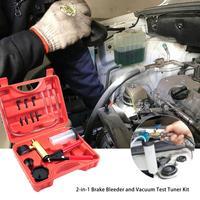 2 in 1 Hand Held Brake Bleeder & Vacuum Gauge Pistol Pump Test Tuner Kit Tools Body Pressure With Case Auto Accessories