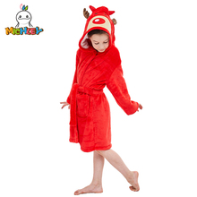 MICHLEY Kids Bath robes Adorable Baby Girl Roupao Hooded Childrens Towel Red Elk Bathrobes Beach Swimwear Boy Pajamas WEK-R