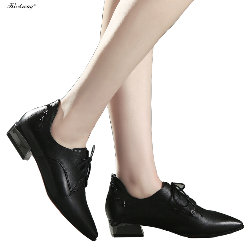 New fashion shoes platform Pointed toe med heel ladies shoes large size shoes women 34-43 genuine leather chaussure femme 512 weweya 2017 summer candy colors ladies flats fashion pointed toe shoes woman new flat shoes women plus size chaussure femme