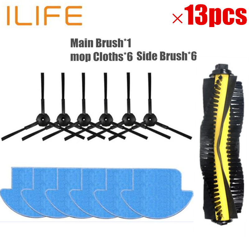 13pcs/set ilife v7s ilife v7s pro robot Vacuum Cleaner Parts kit ( Main Brush*1+mop Cloths*6+Side Brush*6) Chuwi ILIFE v7s pro 1x main brush 6x side brush 2x cleaning mop cloth 2x hepa filter kit for chuwi ilife v7s v7s pro robotic vacuum cleaner parts