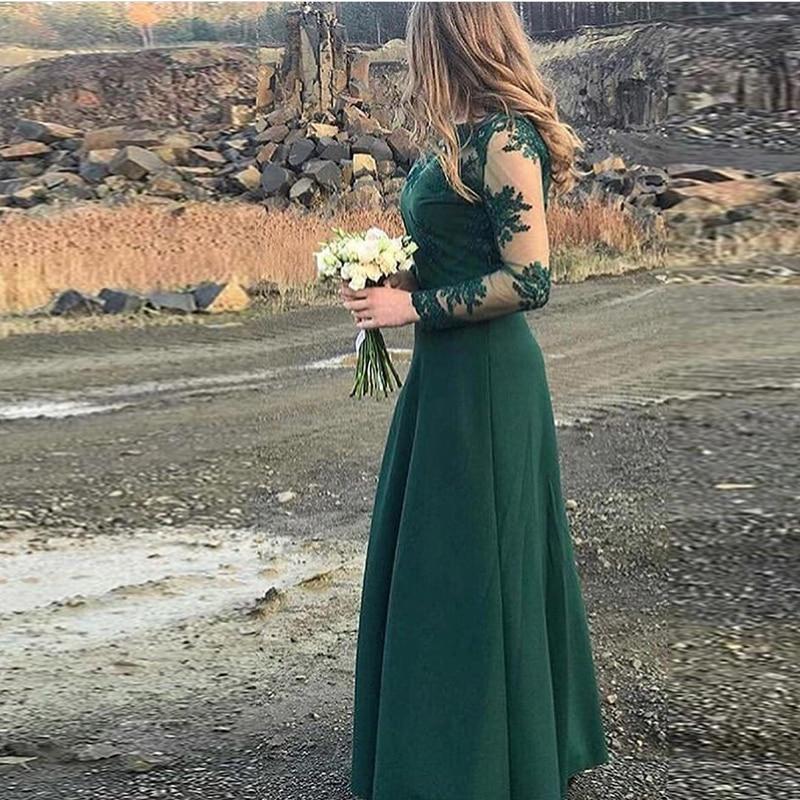 Tenue de fête longo Manches Longues robes de demoiselles d'honneur Foncé Vert Dentelle robe de soirée formelle A-ligne D'honneur Demoiselle D'honneur Robe