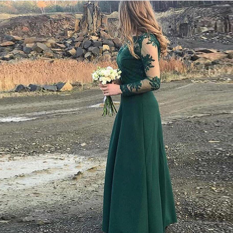 Vestido de festa longo Long Sleeves   Bridesmaid     Dresses   Dark Green Lace Formal Party   Dress   A-line Honor Maid Of Honor   Dress