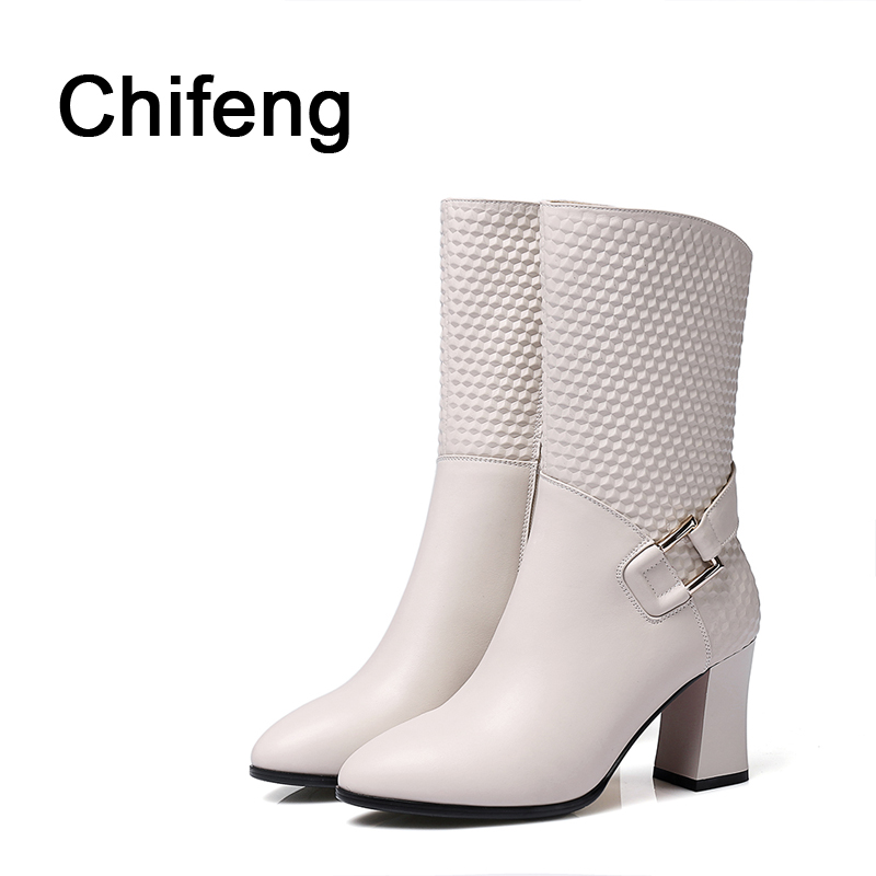 woman boots womens shoes winter white boot  women's high heel shoe ladies high fashion for women genuine leather pointed boot