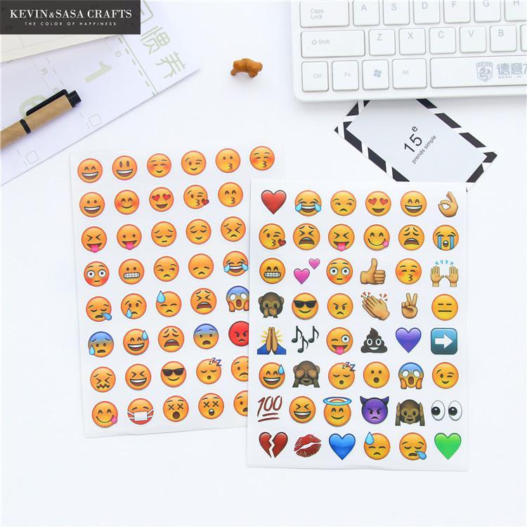 4 Sheets Set Emoji Stickers Stationery Sticker Scrapbook Supplies Kawaii Stickers School Tools Scrapbooking Tools