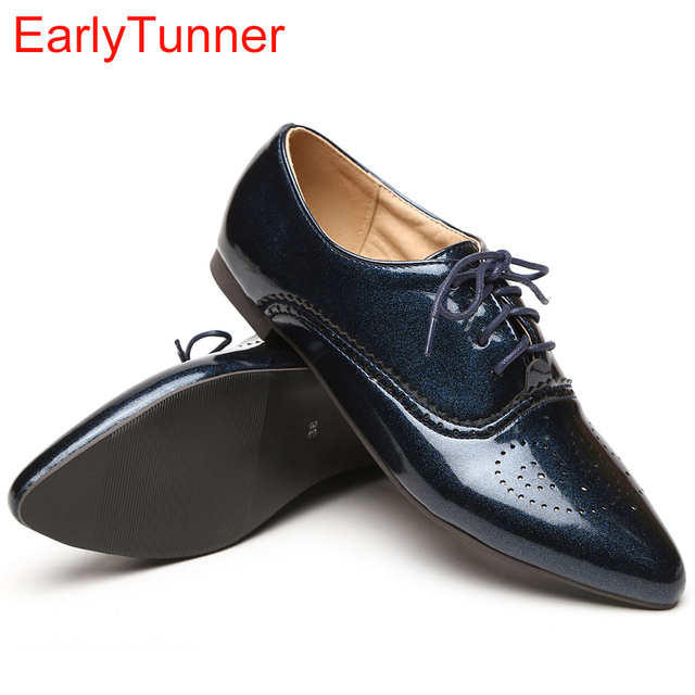 Brand New Fashion Women Glossy Oxfords Black Blue White Female  Brogue Shoes Low Heels ASP51-5 Plus Big Size 32 43 10