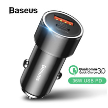 Baseus 36W Dual USB Quick Charge QC 3 0 Car Charger For iPhone USB Type-C PD Fast Charger Mobile Phone Quick Charger Car-Charger cheap Type C 5V 2 4A RoHS MEIZU Xiaomi Nokia Sony Motorola Other Blackberry Samsung Lenovo Huawei APPLE Universal USB PD Qualcomm Quick Charge 3 0
