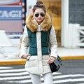 2016 Mulheres de Pato Para Baixo Casacos de Marca Manteau Femme Moda Patchwork Parkas Com Capuz Quente grossa Jaqueta e Casaco de Inverno Mulheres Mais tamanho