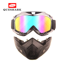 Queshark Bicycle Bike Cycling Glasses Motorcycle Sport Snowboard Ski Eyewear Wind Stopper with Detachable Face Mask