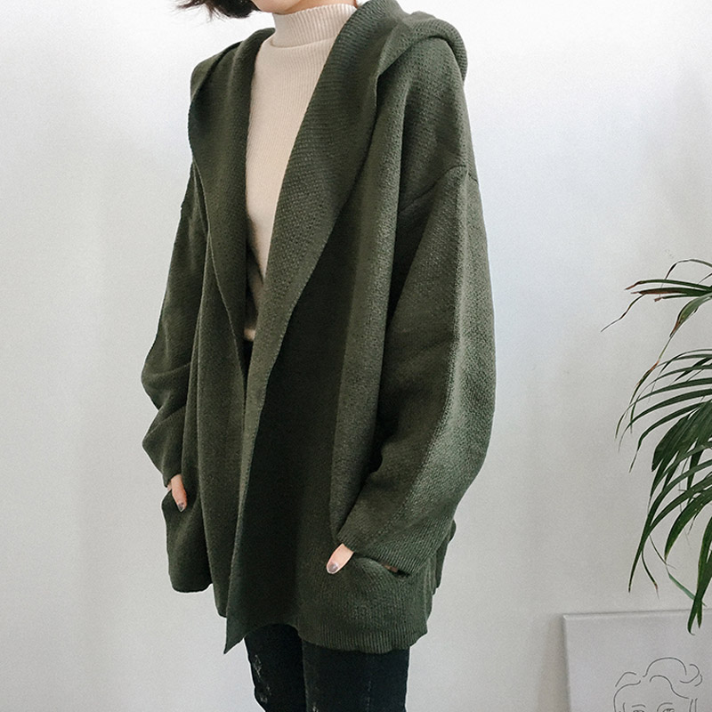 2018 New Women Winter Knitted Coats Korean Casual Long Sleeve Loose Hooded Cardigan Coat Female All-match Sweaters