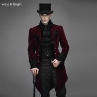 Джентльмен бархат Готический барокко Винтаж викторианской Тренч зимняя куртка хвост пальто красный CT02202