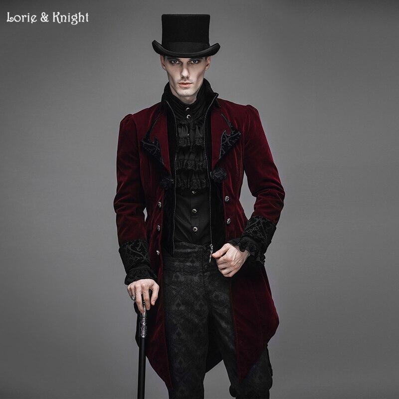 Gentleman Velvet Gothic Baroque Vintage Victorian Trench Coat Winter Jacket Tail Coat RED CT02202