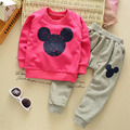 Casual Baby Toddler Kids Boys Girls Mickey Mouse Long Sleeve Cotton Tops Trousers Pants Pajamas Homewear Outfit Sets for 2-5Y