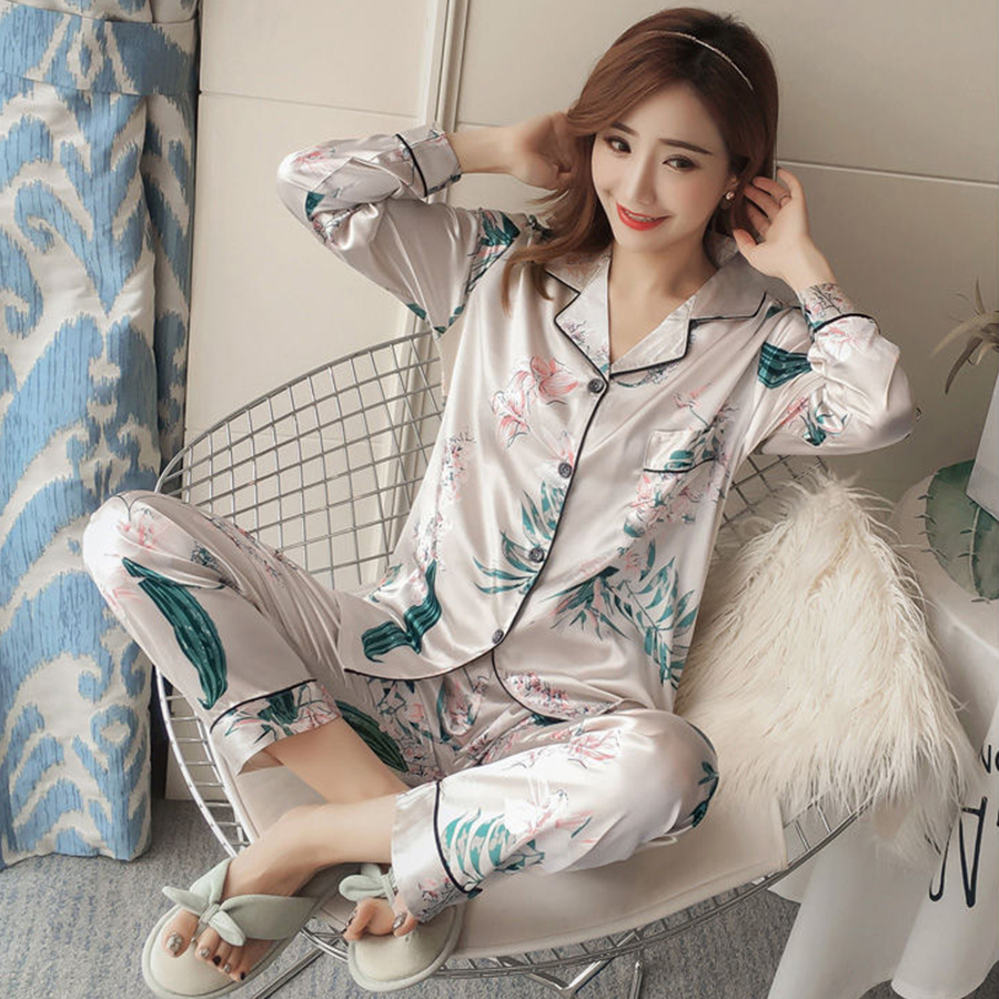 Spring Sweet Satin   Pajamas     Set   Women Long Sleeve Turn-down Collar Cardigan Long Pants Home Clothes Plus Size Ladies Sleepwear