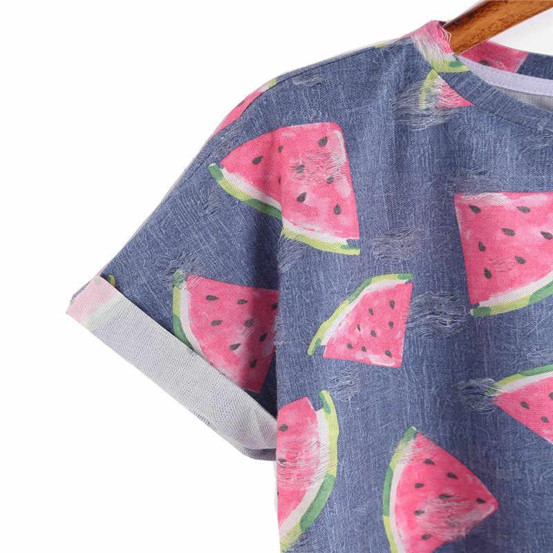 9dbc1f215b6 ... 2017 Women Summer Short Sleeve T-shirt Blue Watermelon Printed T-shirt  sweet Tops ...