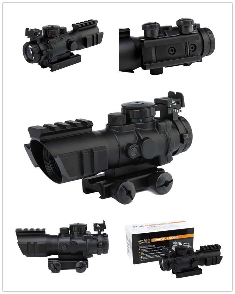 Tactical 4X32 Compact Rifle Scope W/ Tri-Illuminated Reticle Optic Sight Airsoft Hunting Riflescope tactical 4x32 rifle scope w tri illuminated chevron reticle fiber optic sight scope rifle airsoft gun hunting airsoft