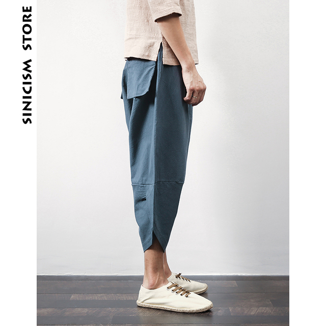 Sinicism Store Cotton Linen Mens Harem Pants Summer Male Casual Calf-Length Pants 2020 Solid Big Pocket Baggy Pants Trousers 56