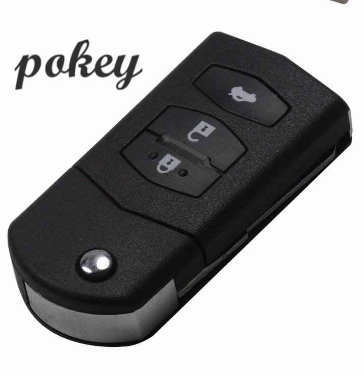 3 Key Buttons A Distance Fob Case of Vibration Folding Bags With Uncut Lama For Mazda 3 5 -6 image