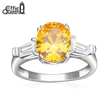 Effie Queen New Trendy Luxury Austrian Zircon Engagement Ring Wedding Rings for Women DR51