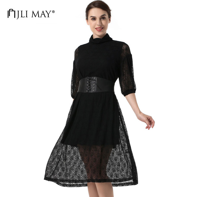 JLI MAY Vintage black lace dress women turtleneck belted lantern sleeve a-line shift autumn womens clothing ladies long dresses
